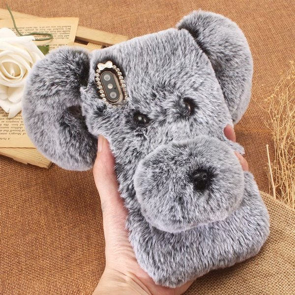 For Iphone XS MAX XR X 8 7 Plus 6 Sam A30 A50 3D Lucky Dog Hair Soft TPU Case Long Ear Bling Diamond Nose Cute Lovely Fluffy Fur Cover Gel