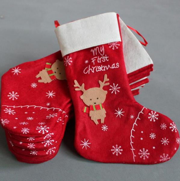 Noel Ren Geyiği Çorap Kırmızı Geyik Santa Hediyeler Çorap Noel Hediyeler Stoage Çanta Noel Ağacı Hediyeler Süsleme