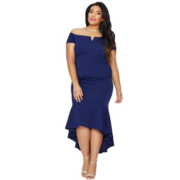 Wholesale Navy Blue Plus Size Dip Hem Fishtail Midi Dress Online