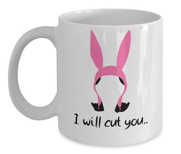 Eu vou cortá-lo 11 onças Tv Show Bobs Hambúrgueres Coffee Mug Feito de cerâmica branca com alça grande o Bob Perfeito