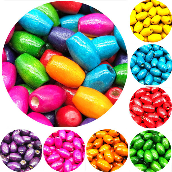 top popular 10*6 8*5 6*4mm 100 pcs lot DIY Hot Fashion Beads Handmade Colored Natural Wood Beads For Bracelet Necklace Jewelry Making 2021