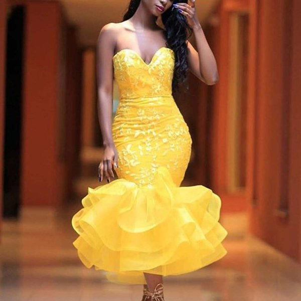 Yellow Tea Length Prom Dresses Sweetheart Lace Ruffles Bottom Short Evening Party Gown Women's Midi Special Occasion Dress