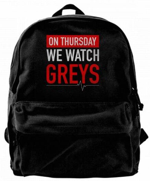 On Thursday We Watch Greys Canvas Shoulder Backpack Cute Backpack For Men & Women Teens College Travel Daypack Design handbag Black