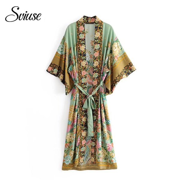 Summer Women Satin Kimono Cardigan Silk Shirt Female 2018 Floral Print Green Belt Boho Long Beach Bikini Cover Up Blouse Tops C18110102