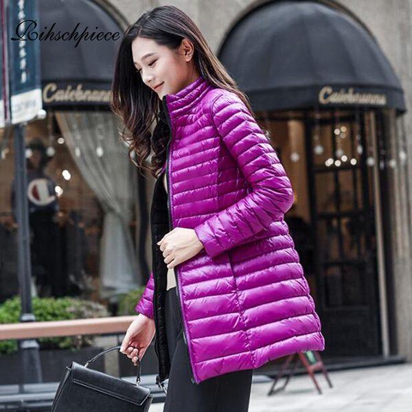 Rihschpiece Winter Plus Size 4XL Duck Down Jacket Women Long Ultra light Coat Autumn Warm Thin Black Puffer Jackets RZF1532