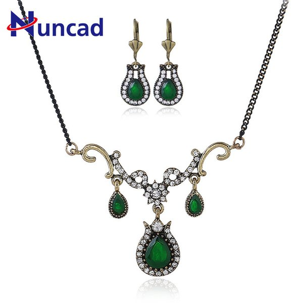 2018 Fashion Vintage Turkish Resin Green Jewelry Sets Charming Crystal Pendant Women Necklace Earring Statement Jewelry