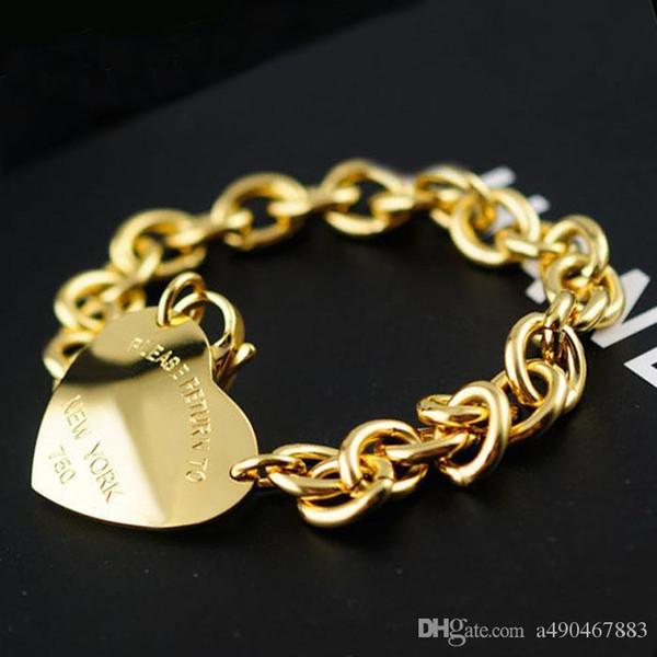 placcato Uphot oro fino in acciaio inox famoso braccialetto Marca jewerly 18 carati braccialetto del braccialetto del polsino per la donna l'uomo bracciale unisex per il regalo coppie