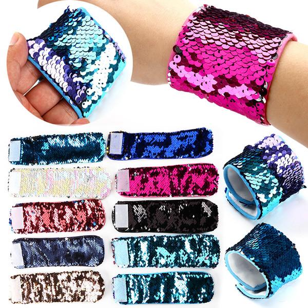 Rainbox Verfärbungs Plüsch Magie Hook Schleife Sequin-Nixe-Armband-Armband-Stulpe-Plüsch-Spielzeug für Kinder Erwachsene