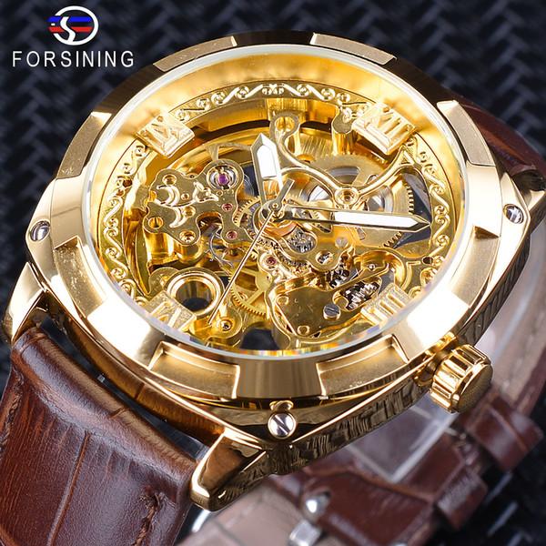x Forsining 2018 Royal Golden Flower Transparente Banda de Cuero Marrón Hombres Reloj Creativo Reloj Masculino Impermeable Reloj de pulsera Mecánico