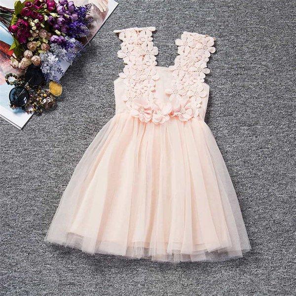 Retail Fashion Girls Lace Crochet Vest Dress Sundress Princess Girls Sleeveless Vest Girl Dress Baby Party Dress Kid Boutique Summer Clothes