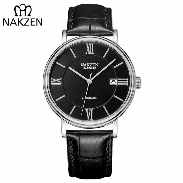 Nakzen homens negócios relógios mecânicos automáticos de luxo da marca de couro homem relógio de pulso masculino relógio relogio masculino miyota 9015