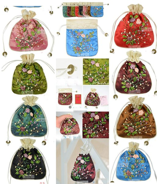 LiiJi Unique 10pcs Chinese Handmade Embroidered Silk Gift Bags Jewerly Pouch