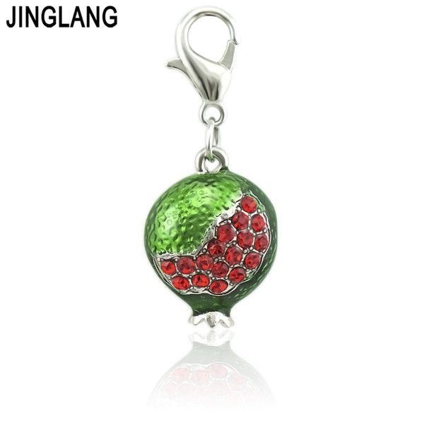 JINGLANG Simple personalized enamel Pomegranate Metal Pendant Rhinestone Inlaid Ice Hockey Jewelry Charm
