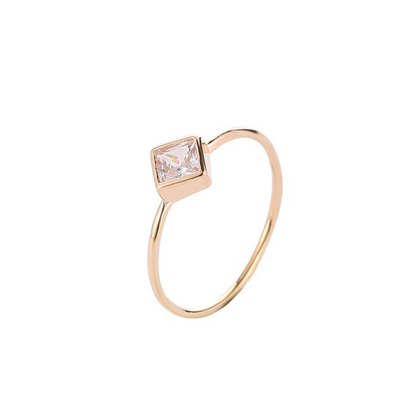 5 Sizes Geometric Square Faceted Zircon Thin Band Personalized Silver Golden Rings For Women