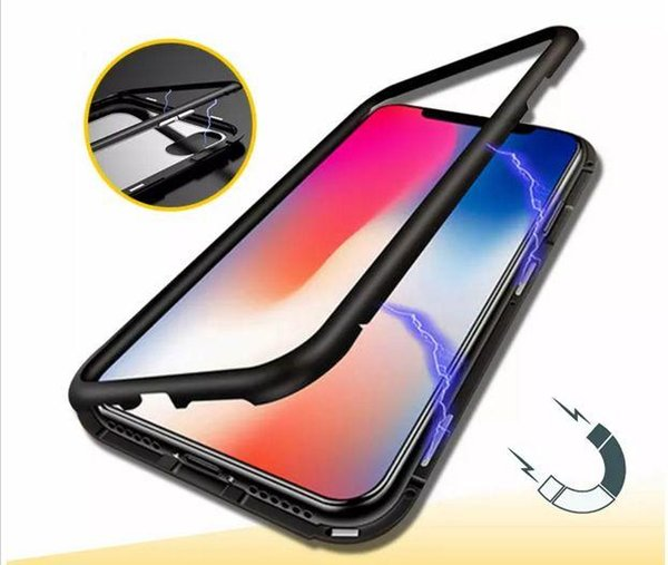 Magnetic Adsorption Metal Phone Case for iPhone X 8 Plus 9 9plusFull Coverage Aluminum Alloy Frame with Tempered Glass Back Cover