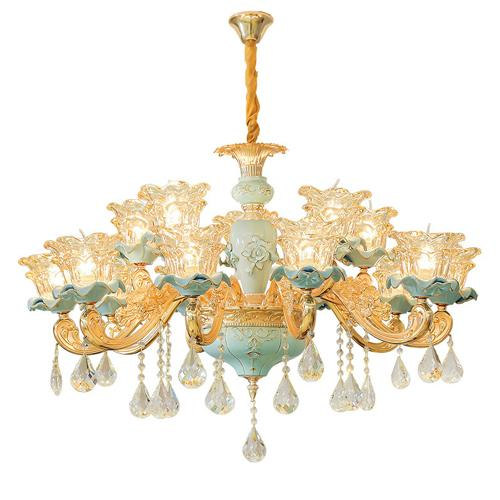 New European ceramic chandelier atmospheric luxury living room crystal light romantic warm bedroom restaurant lighting low floor home lamps