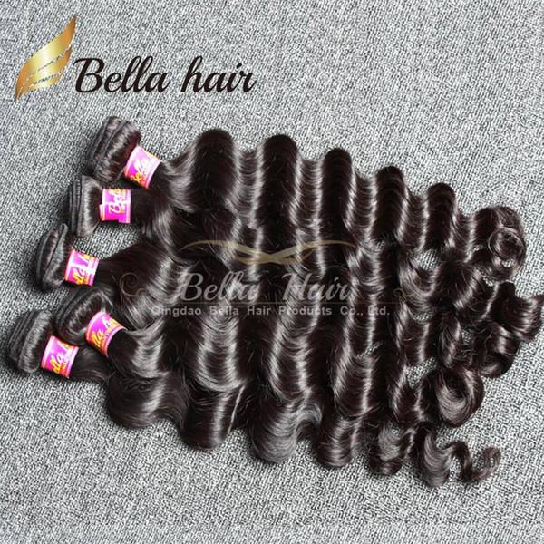Bella Hair® 4 pçs / lote Extensões de Cabelo Brasileiro Indiano Não Transformados 8A Feixes de Cabelo Humano Solto Onda Profunda Natural Cor Preta Tecer Cabelo Trama