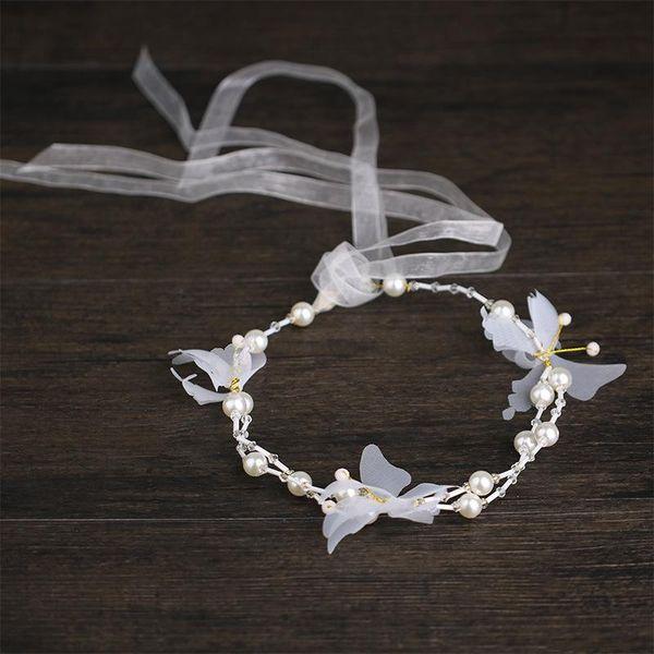 Children's wedding dress headwear, white butterfly pearl hair band, children's dress accessories, ornaments, pearls