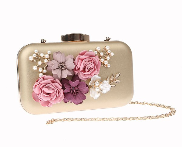 Royal Gold Women's Bag PU Handbag Bridal Wedding Party Evening Bag New Clutch Purse Makeup Two Chain Flowers 03944-D