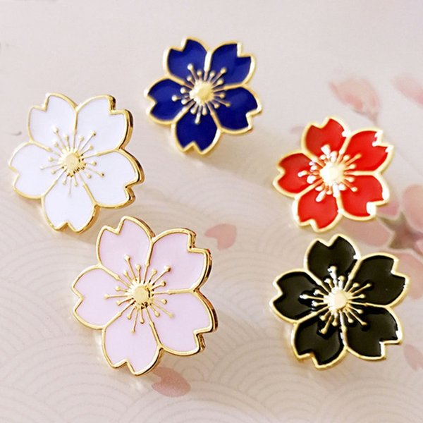 Flores de cerezo Flor de plata Broche de plata Pins Pins Chaqueta de mezclilla Insignia Pin para bolsas Regalo de joyería de estilo japonés para niñas