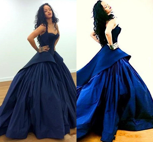 Rihanna Navy Blue Formal Celebrity Evening Dresses 2017 Sweetheart Ball Gown Princess Puffy Court Train Prom Pageant Wear Plus Size