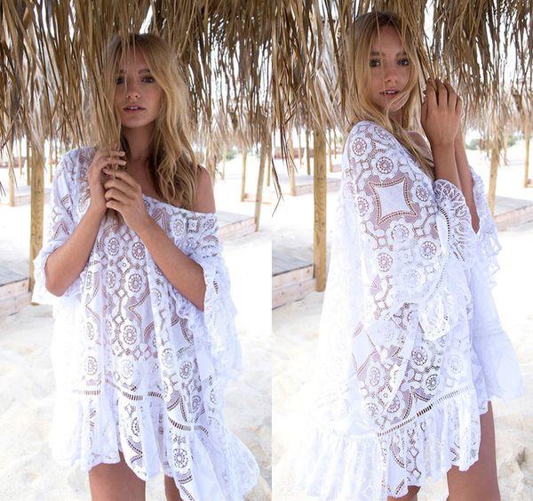 Sexy Lace Hollow Knit Bikini Swimwear Cover up Beach Mini Dress Tops Blouse Women White Summer Bathing Suit