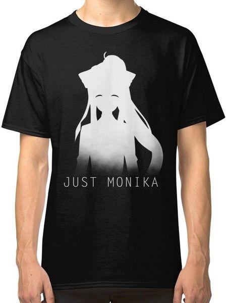 Rude T Shirts Short Graphic Just Monika Doki Doki Literature Club Men's Black T-Shirt Tees Clothing S 3XL O-Neck Tees For Men