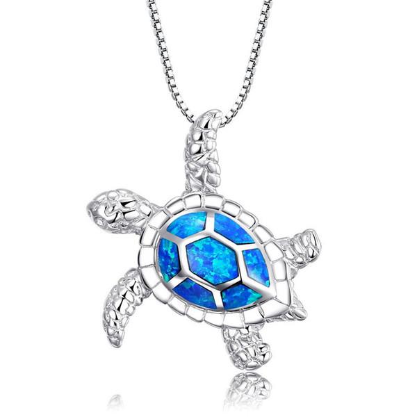 Neue Mode Niedlich Silber Gefüllt Blau Opal Sea Turtle Anhänger Halskette Für Frauen Weibliche Tier Hochzeit Ozean Strand Schmuck Geschenk