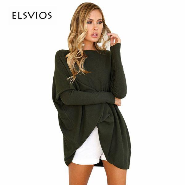 ELSVIOS 2017 Autumn Casual Knitted T Shirts Fashion Batwing Long Sleeve Warm Tops Shirt Loose Solid Elegant Women Tops Tee Shirt