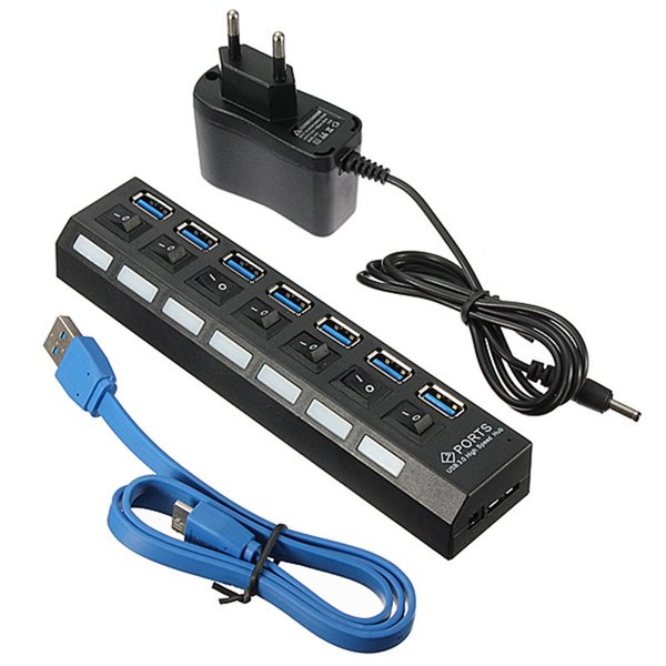 Universal 7 puertos USB 3.0 hub con interruptor de encendido / apagado EU / US / UK adaptador de corriente alterna para Windows XP / Vista / 7/8 para Mac / OS Laptop Desktop