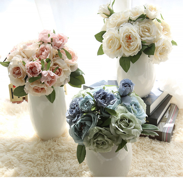 2017 Pretty Güzel Sevimli Yapay Gül Çiçek Buket Düğün Gelin Çiçekler Buket Ev Mobilya Ücretsiz Kargo
