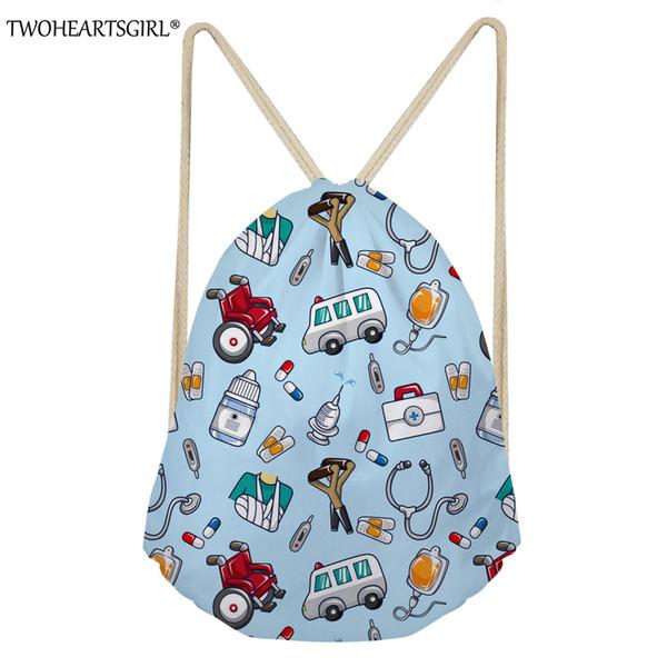 TWOHEARTSGIRL 3D Prints Drawstring Bag for Women Cartoon Camera Pattern Female Drawstring Backpack Girls Travel Beach Pocket Bag