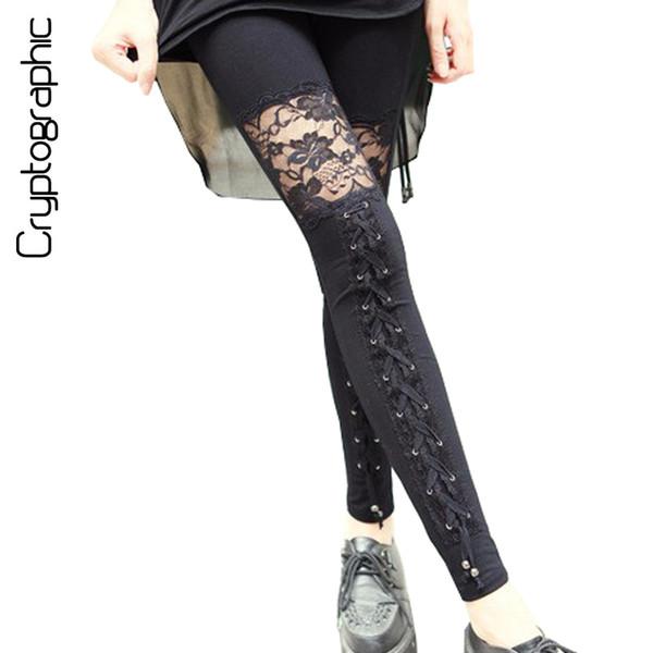 Fashion sexy fitness leggings women 2017 gothic punk rock legins lace patchwork black leggings girls skinny pencil pants clothes S18101506