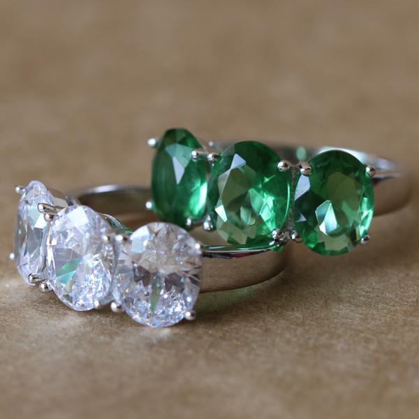 Tre pietre ovali da 3,84 ct, in oro bianco, in argento sterling 925, SONA, sintetico, con anello di fidanzamento, per le donne, con gioielli raffinati