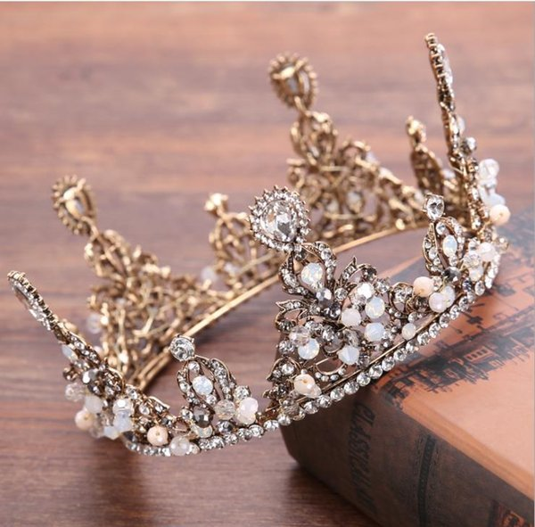 Bridal headwear Baroque retro whole circle hand crafted crown wedding dress accessories crown ornament