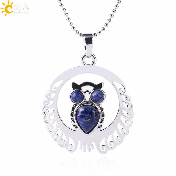 CSJA In Stock Statement Necklace Wholesale Silver Plated Natural Stone Owl Pendant Tiger Eye Amethyst Lovers Jewelry US Free ePacket F470 B