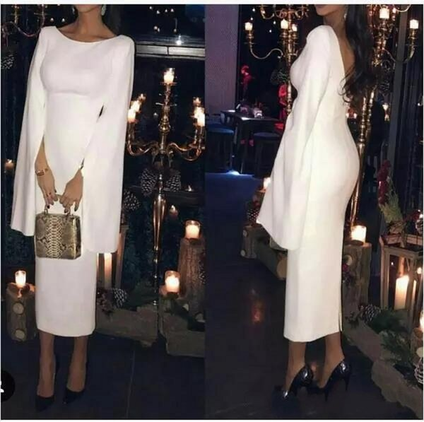 New Design Evening Dresses Scoop Neck Satin Long Sleeves Occasion Wear Celebrity Prom Gowns Custom Made In China
