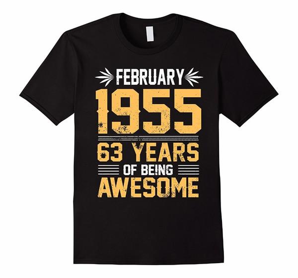 T Shirt Designer Legends per uomo nato nel FEBBRAIO 1955 63 Yrs Years Being Awesome Crew Neck Comfort morbido camicia a maniche corte