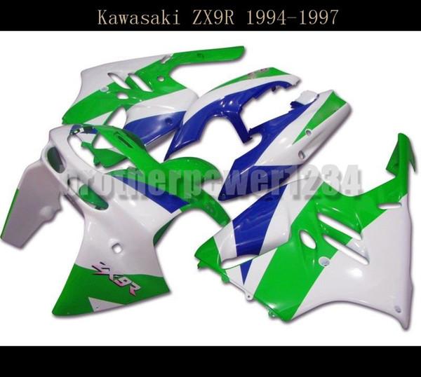 Carrozzeria ABS Green Blue White Cover Carene complete per Kawasaki Ninja ZX9R 1994 95 96 1997
