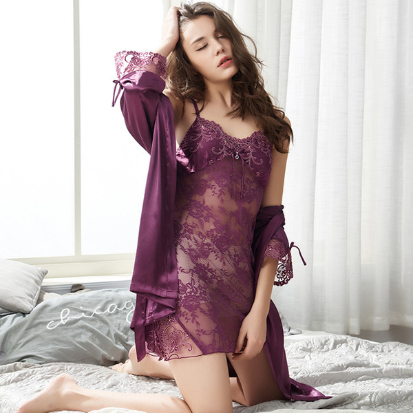 2018 Spring Autumn Summer New Silk Sexy Lace Nightdress Female Openwork Sling Silk Nightdress Women's Two-Piece Set Night gow
