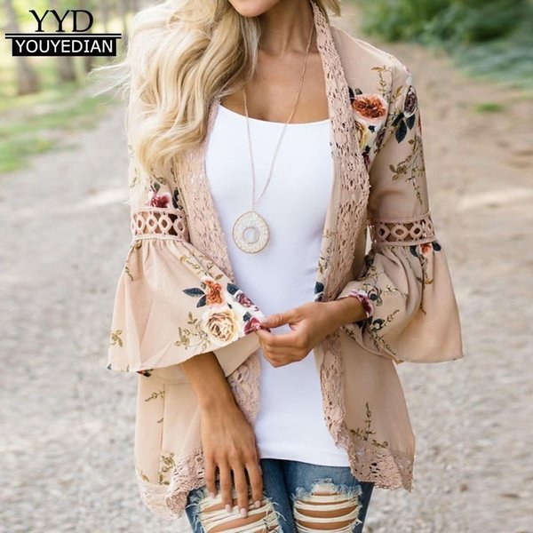 2018 Summer Cardigans Fashion Women Floral Print Chiffon Cover Up Kimono Cardigan Coat Flare Sleeve Lace Tops Women Blouses *307