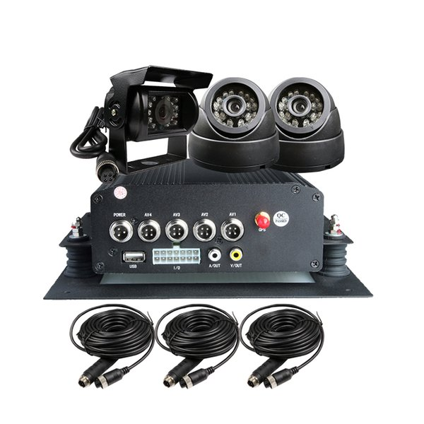 Free Shipping 4 Channel H.264 I/O 2TB HDD GPS Vehicle Car DVR Recorder PC Playback 3 CCTV Car Camera Kit for Duty Truck Bus