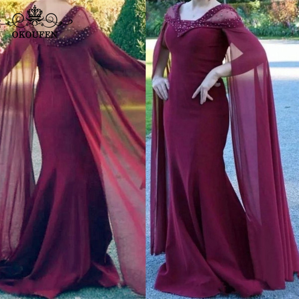 Flowing Chiffon Cape Mermaid Mother Of The Bride Dresses 2018 Beads Rhinestone Sheer V Neck Burgundy Long Prom Dress Formal Gown