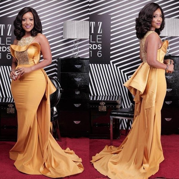 best selling 2019 African Gold Mermaid Prom Dresses Jewel Sweep Train Beaded Long Formal Evening Party Gowns Red Capet Wear Celebrity Dress Plus Size