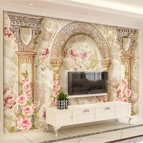 Custom Mural Wall Paper 3D European Style Flower Pattern Marble Pillar Living Room TV Background Wall Home Decor Art Wallpaper