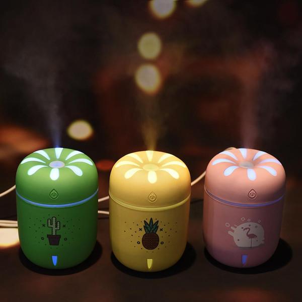 Mini Chrysantheme USB Ultraschall Luftbefeuchter Desktop Kamille Aroma Oil Diffuser 3 Farben Nachtlicht Luftbefeuchter
