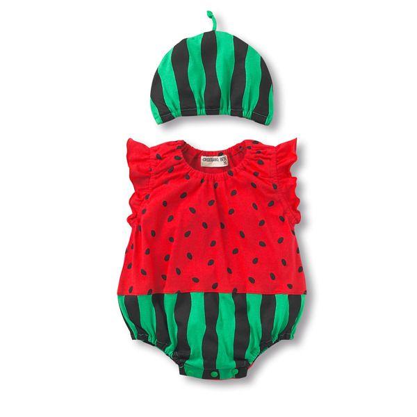 Watermelon baby bodysuit+hat Baby Boy Girl Summer Strawberry fruit animal Cotton Jumpsuit Infant Toddler  sharp Costumes