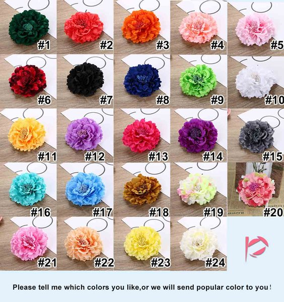 best selling 4.3 Inches Fashion Women Lady Big Peony Flower Hair Clip Hairpin Beautiful Brooch Headdress Accessories Hot New 24 Color DHL Free