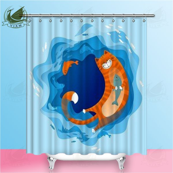 """Vixm Home fun cat in the sea fabric shower curtain linen texture embroidery for the bathroom with hook and loop 72 """"X 72"""""""
