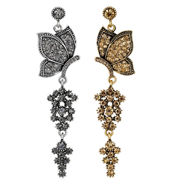 Liga de zinco do vintage elegante borboleta brincos pretos e amarelos brincos de animal personalizado